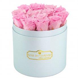 Roses Éternelles Roses Pâles Dans Une Flowerbox Bleue