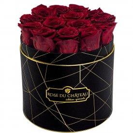Červené věčné růže v černém industrial flowerboxu