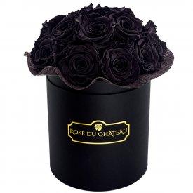 Černé věčné růže bouquet v černém flowerboxu