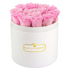 Světle růžové věčné růže v bílém kulatém flowerboxu