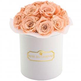 Čajové věčné růže bouquet v bílém flowerboxu