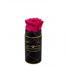 Růžová věčná růže v mini černém industrial flowerboxu