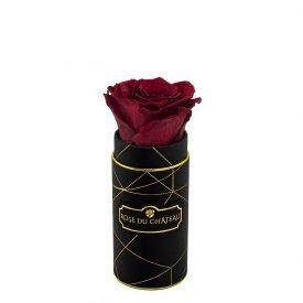 Červená věčná růže v mini černém industrial flowerboxu