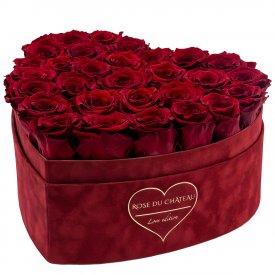 Červené věčné růže ve velkém boxu heart - LOVE EDITION