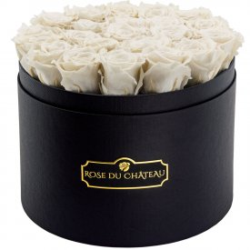 Bílé věčné růže ve velkém černém flowerboxu