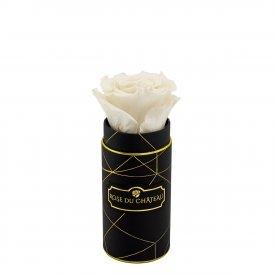Bílá věčná růže v mini černém industrial flowerboxu