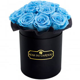 Modré věčné růže bouquet v černém flowerboxu