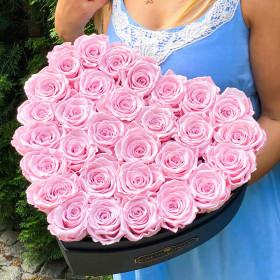 Světle růžové věčné růže ve velkém boxu heart