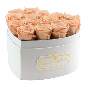 Čajové věčné růže v bílém boxu heart