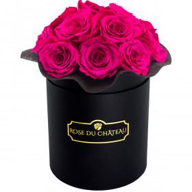 Růžové věčné růže bouquet v černém flowerboxu