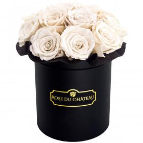 Bílé věčné růže bouquet v černém flowerboxu