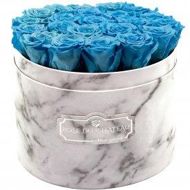 Azurblaue Ewige Rosen in weißer marmorierter Rundbox Large