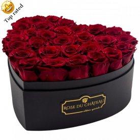 Rote Ewige Rosen in herzförmiger Rosenbox Large