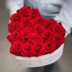 Rote Ewige Rosen in weißer Herzbox