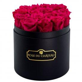 Rosa Ewige Rosen in schwarzer Rundbox