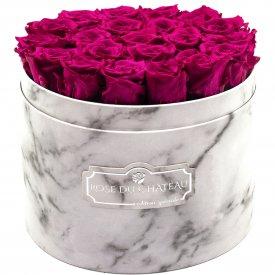 Rosafarbene Ewige Rosen in weißer marmorierter Rundbox Large