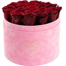 Rote Ewige Rosen in Rosafarbener Beflockter Rosenbox Large - LOVE EDITION