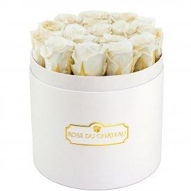 Weiße Ewige Rosen in weißer Rundbox