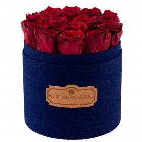 Rote Ewige Rosen in denim Rosenbox