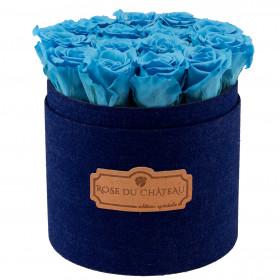 Azurblaue ewige rosen in denim Rosenbox