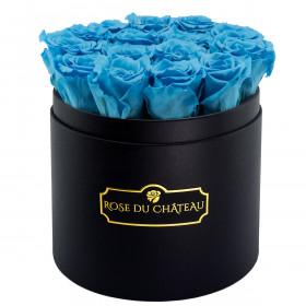 Azurblaue Ewige Rosen in schwarzer Rundbox
