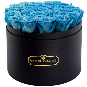 Azurblaue Ewige Rosen in schwarzer Rosenbox  Large