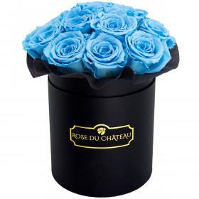 Azurblaue Ewige Rosen Bouquet in schwarzer Rosenbox
