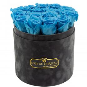 Azurblaue Ewige Rosen in anthrazitfarbener Beflockter Rosenbox