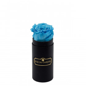 Azurblaue Ewige Rose in schwarzer Mini Rosenbox