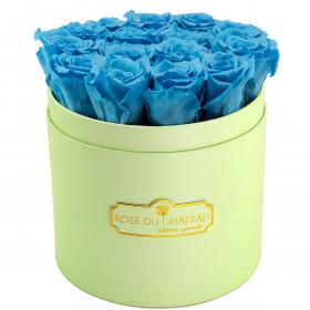 Azurblaue Ewige Rosen in mintgrüner Rosenbox