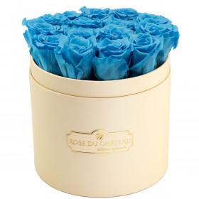 Azurblaue Ewige Rosen in pfirsichfarbener Rosenbox