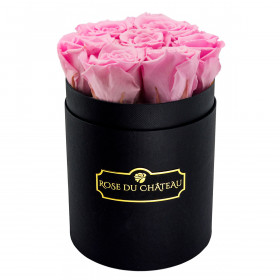 Zartrosafarbene Ewige Rosen in schwarzer Rosenbox Small