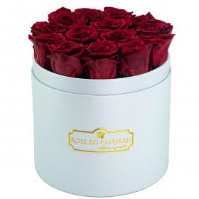 Rote Ewige Rosen in azurblauer Rosenbox