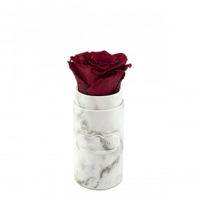 Rote Ewige Rose in weißer marmorierter Mini Rosenbox