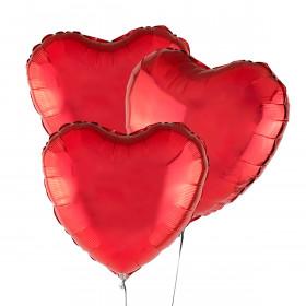Drei rote Luftballons Herz 46 cm