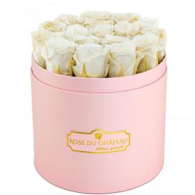 Weiße Ewige Rosen in rosafarbener Rosenbox