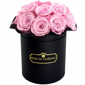 Eternity Pale Pink Roses & Black Bouquet Flowerbox