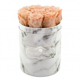 Eternity Peach Roses & Small White Marble Flowerbox