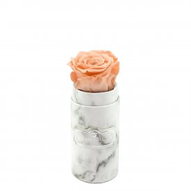 Peach Eternity Rose & White Marble Mini Flowerbox