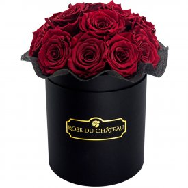 Eternity Red Roses & Black Bouquet Flowerbox
