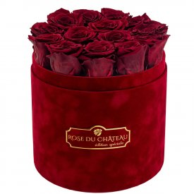 Eternity Red Roses & Red Flocked Flowerbox