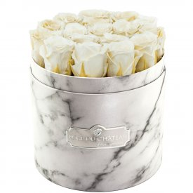 Eternity White Roses & White Marble Flowerbox
