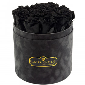 Eternity Black Roses & Gray Flocked Flowerbox