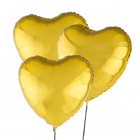 Three Heart-Shaped Gold Balloons 46 cm