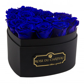Navy Blue Eternity Roses & Black Heart Box