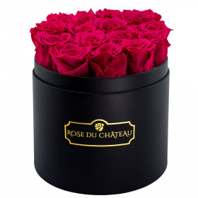 Eternity Pink Roses & Round Black Flowerbox
