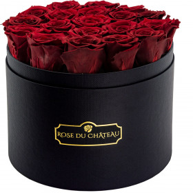 Red Eternity Roses & Black Large Flowerbox