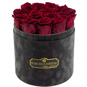 Eternity Red Roses & Gray Flocked Flowerbox